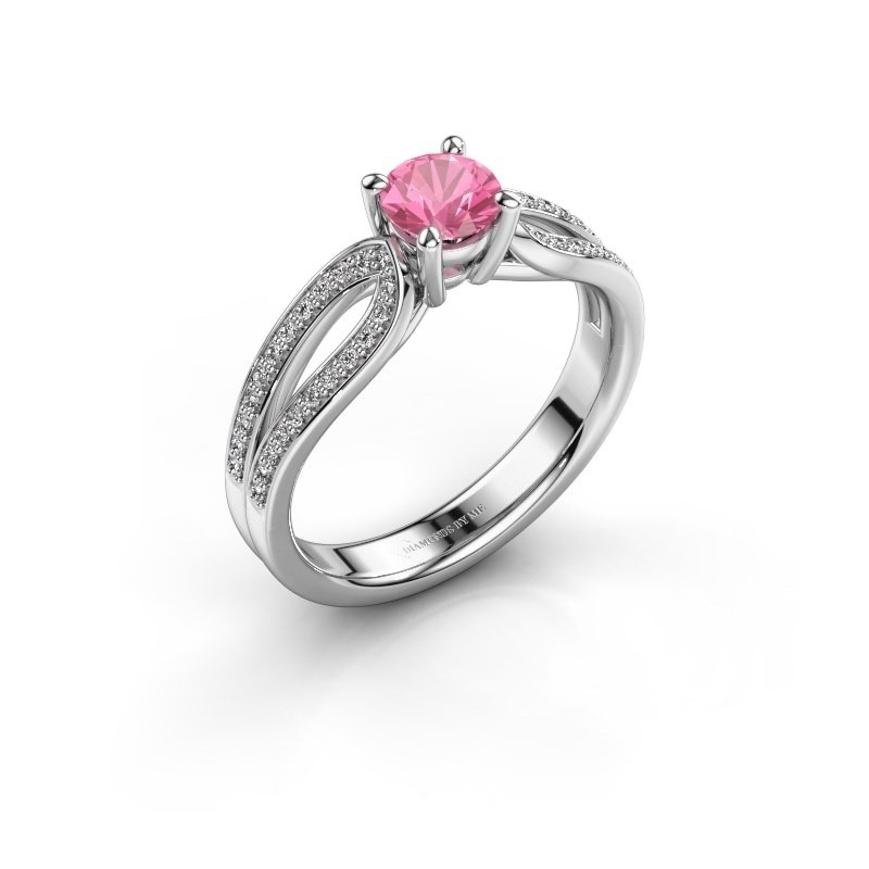 Engagement ring Antonia 2 925 silver pink sapphire 5 mm