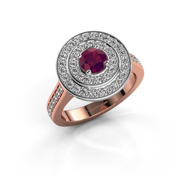 Ring Alecia 2 585 rosé goud rhodoliet 5 mm