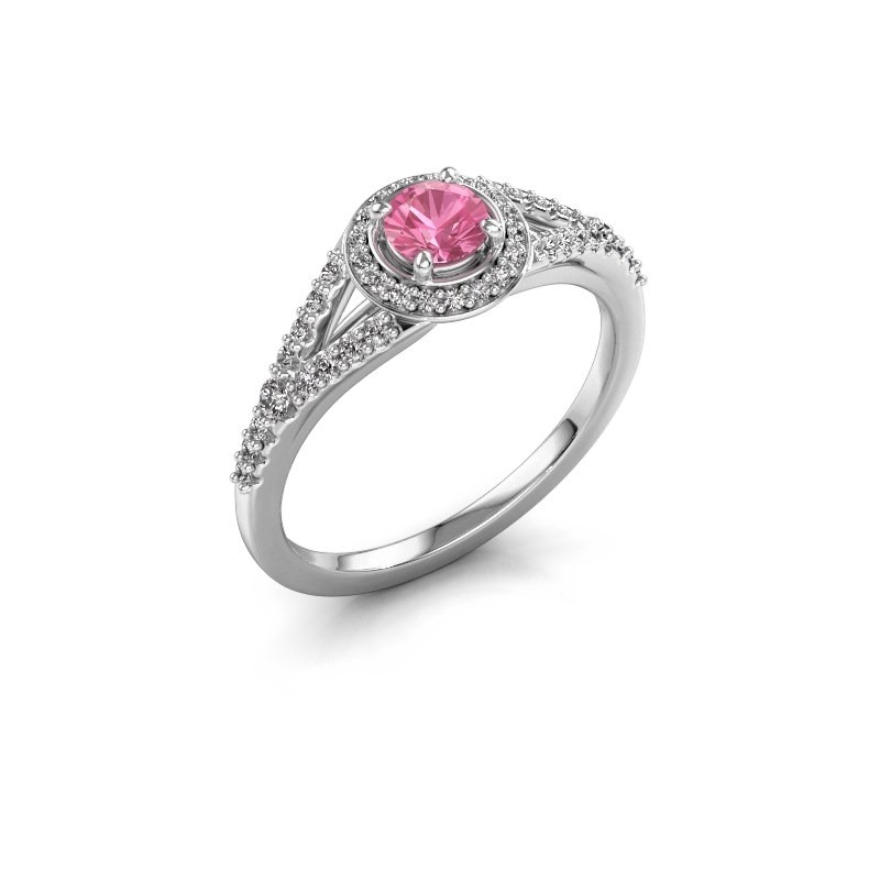 Verlovingsring Pamela RND 585 witgoud roze saffier 4 mm