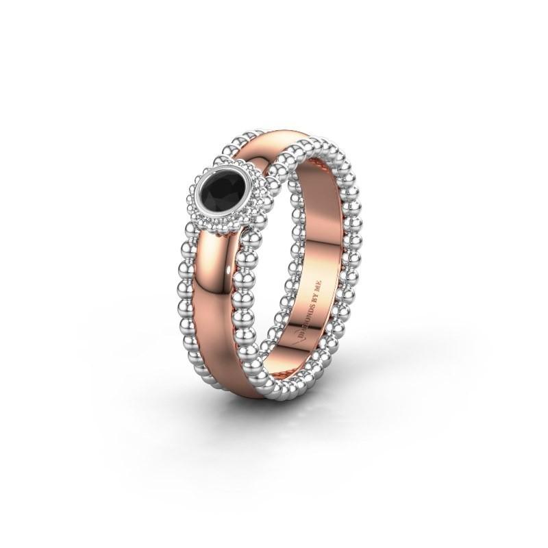 Trouwring WH3053L16A 585 rosé goud zwarte diamant ±6x1.7 mm