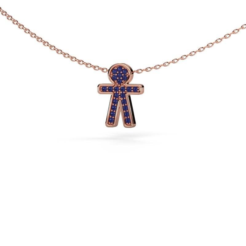 Pendant Boy 375 rose gold sapphire 1 mm