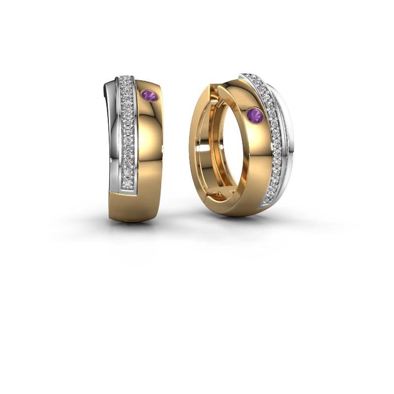 Creolen Shakita 585 goud amethist 2 mm