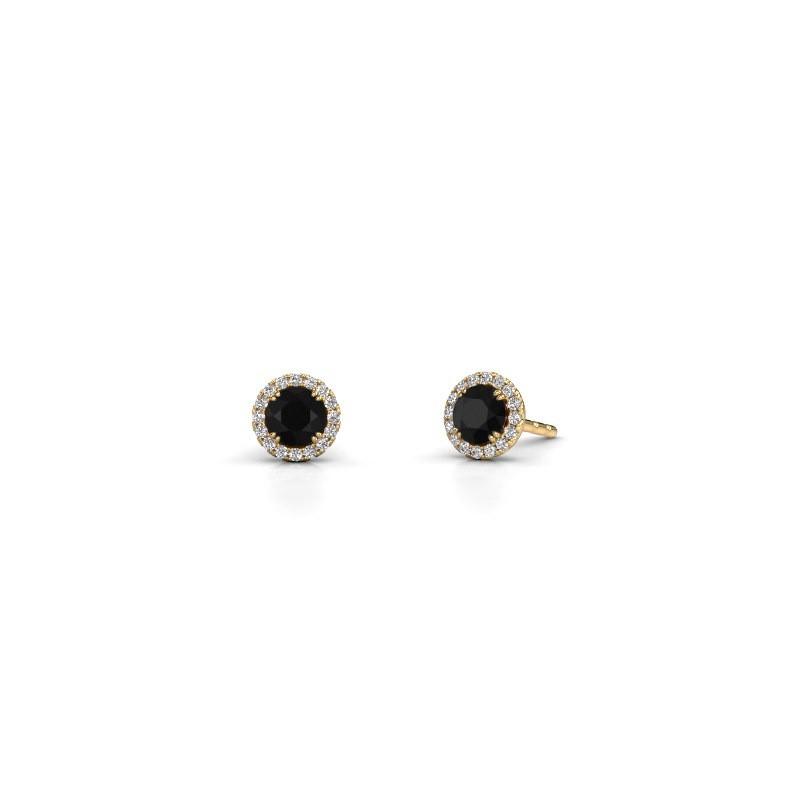 Oorbellen Seline rnd 375 goud zwarte diamant 0.74 crt