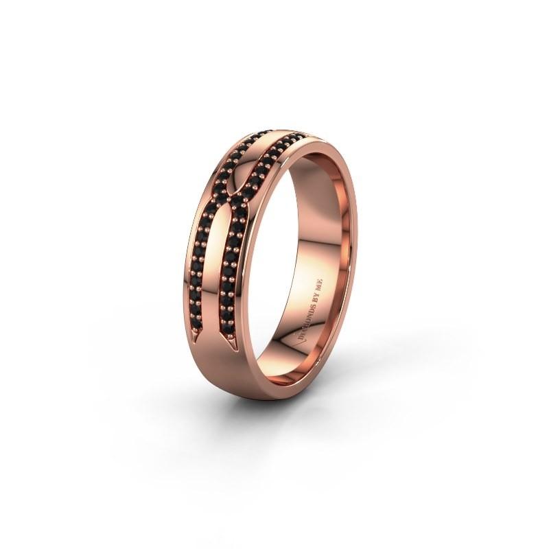 Trouwring WH2212L25AP 375 rosé goud zwarte diamant ±5x1.7 mm