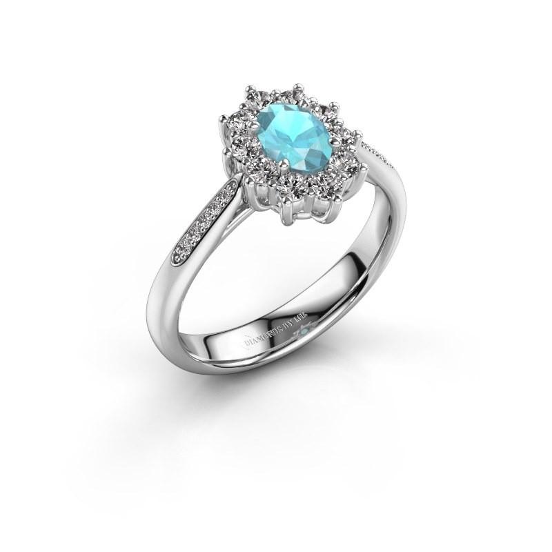 Verlovingsring Leesa 2 925 zilver blauw topaas 6x4 mm