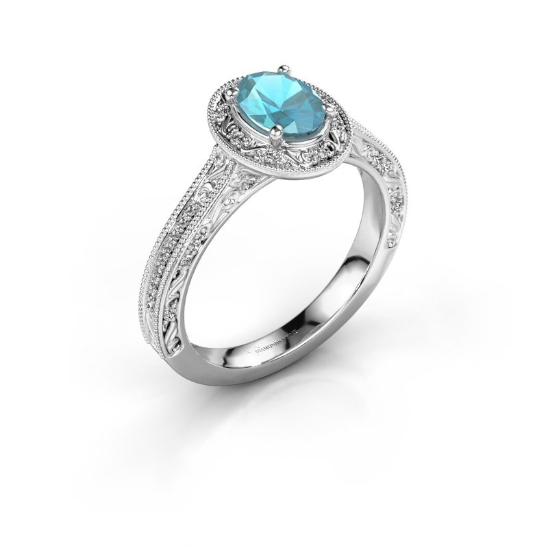 Verlovingsring Alice OVL 950 platina blauw topaas 7x5 mm