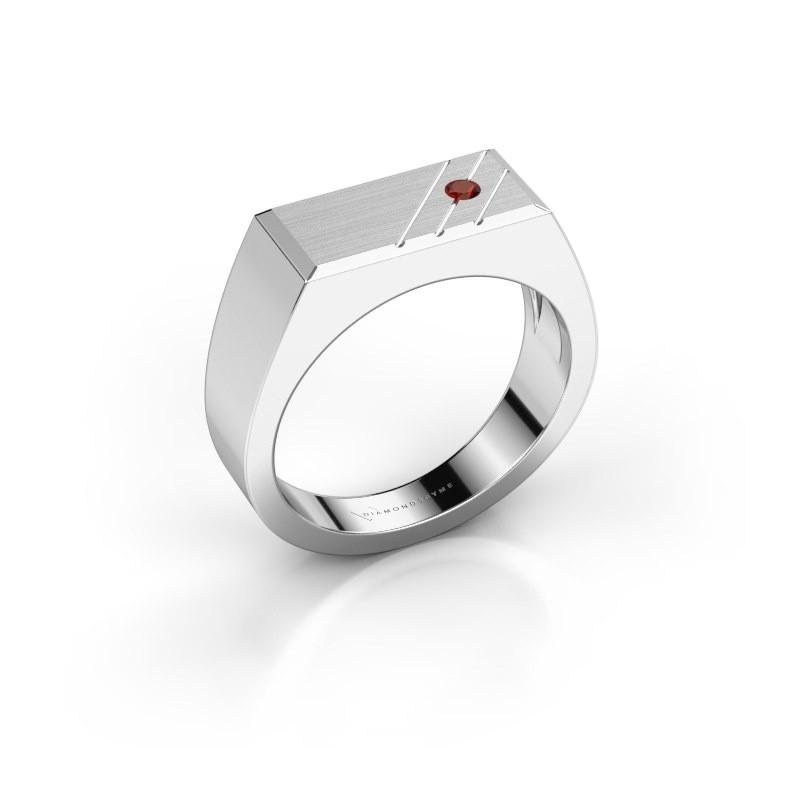 Men's ring Dree 5 585 white gold garnet 2.4 mm