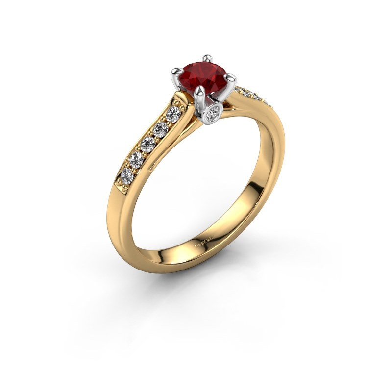 Engagement ring Valorie 2 585 gold ruby 4.7 mm