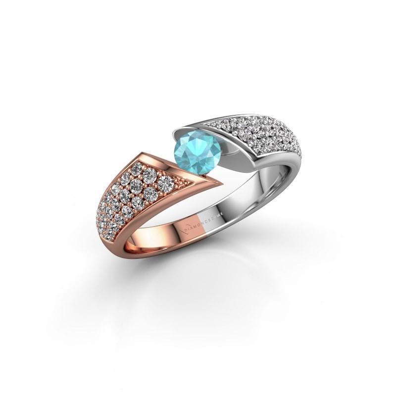 Engagement ring Hojalien 3 585 rose gold blue topaz 4.2 mm