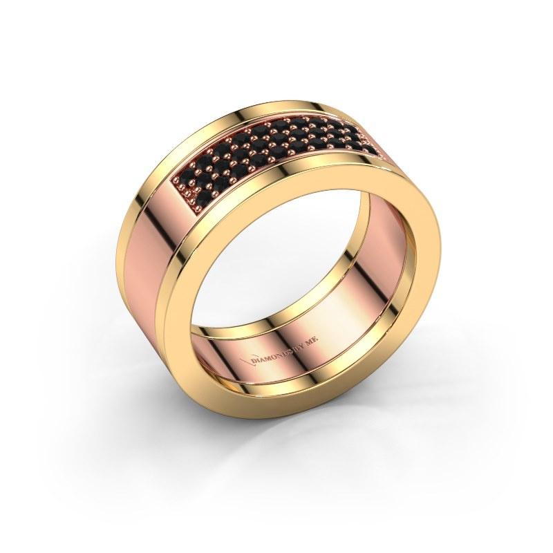 Ring Marita 3 585 rosé goud zwarte diamant 0.348 crt