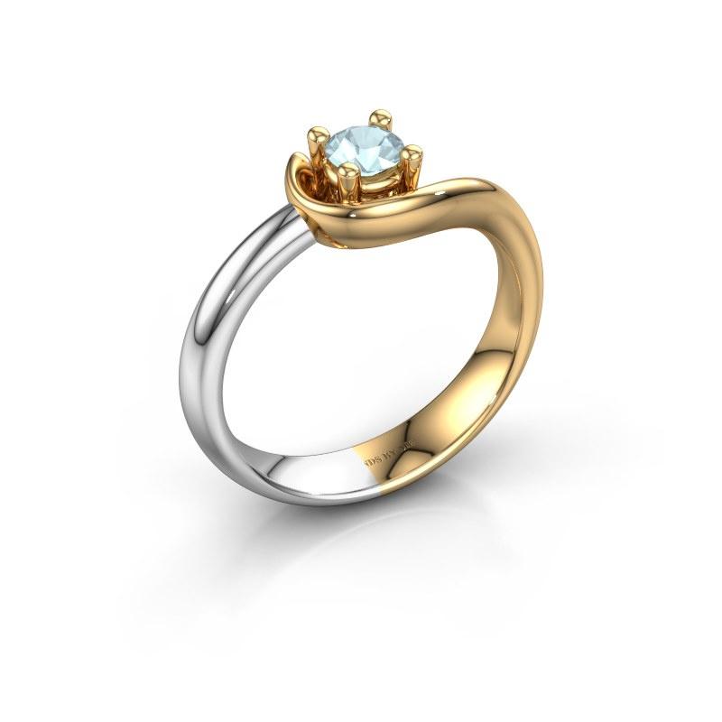 Ring Lot 585 goud aquamarijn 4 mm