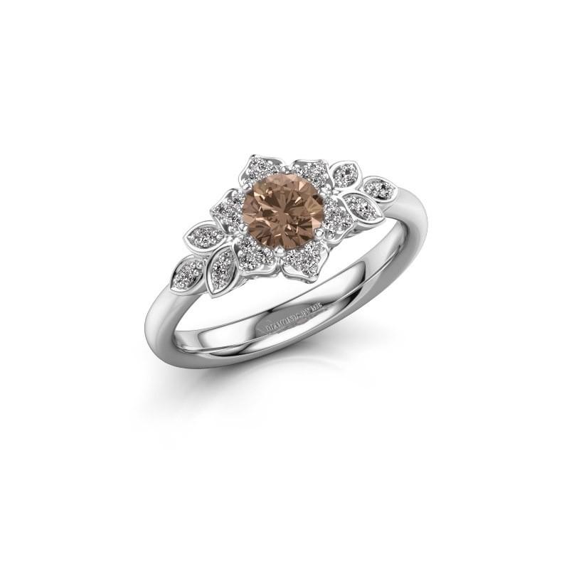 Verlobungsring Tatjana 950 Platin Braun Diamant 0.635 crt
