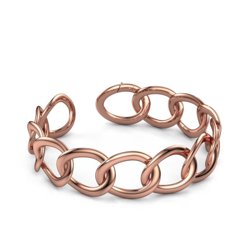 Platte schakel armband Rose 20mm 375 rosé goud