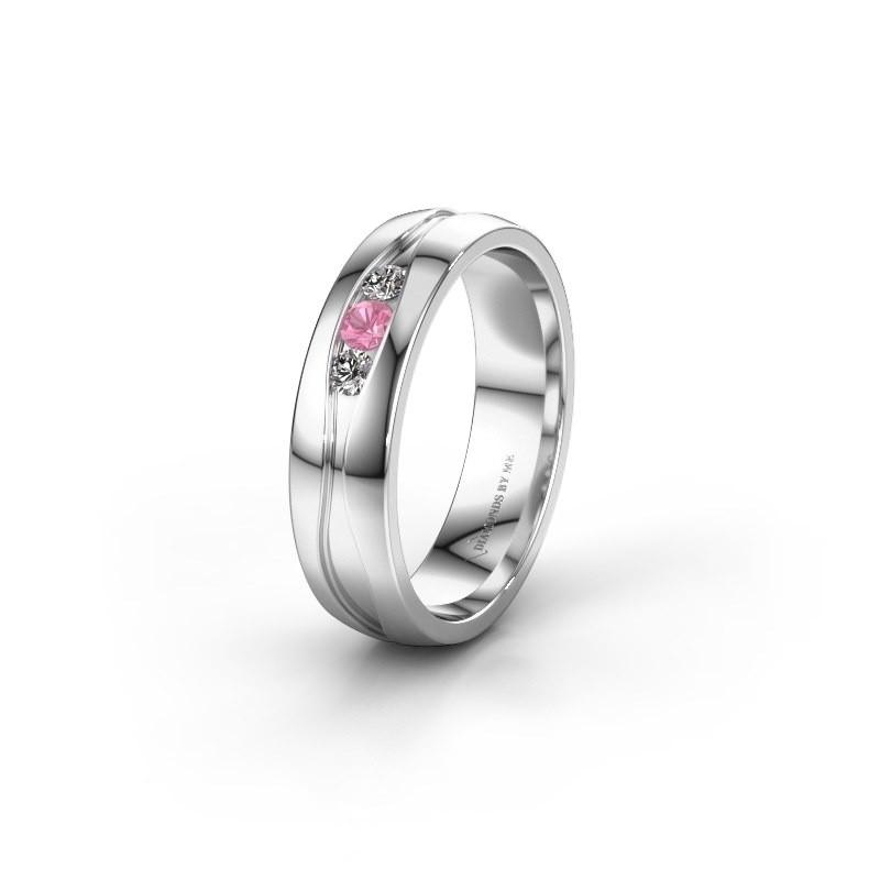Trouwring WH0172L25A 585 witgoud roze saffier ±5x1.7 mm