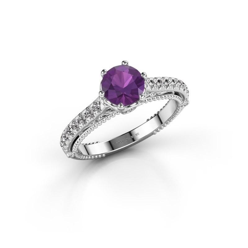 Engagement ring Venita 585 white gold amethyst 6.5 mm