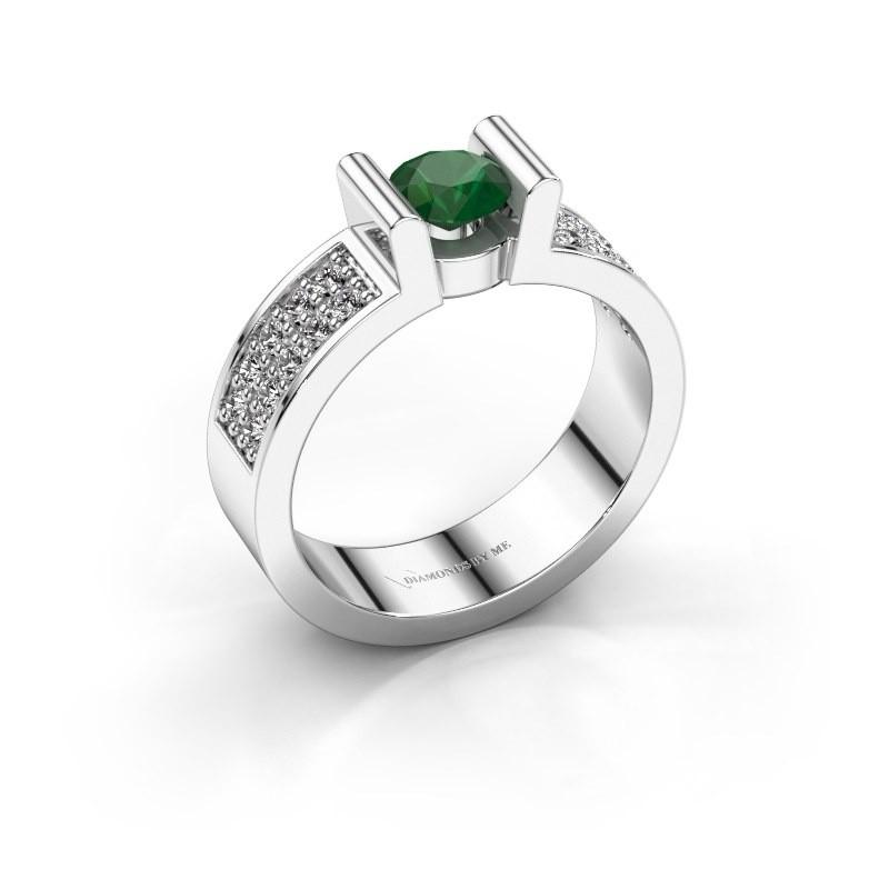 Verlovingsring Sofie 3 375 witgoud smaragd 5 mm