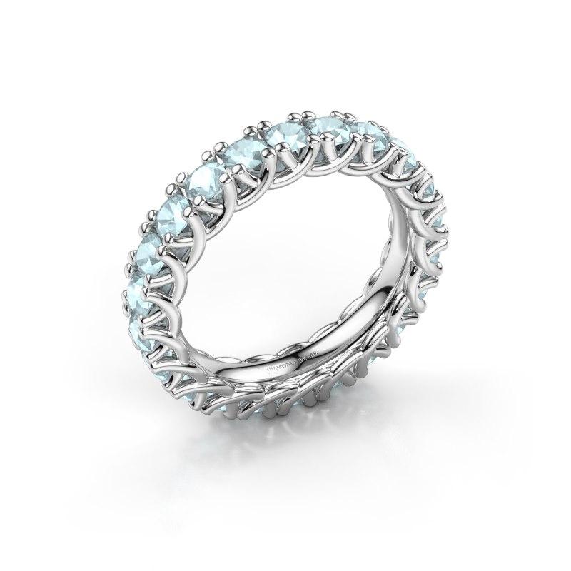 Ring Fenna 585 witgoud aquamarijn 3 mm