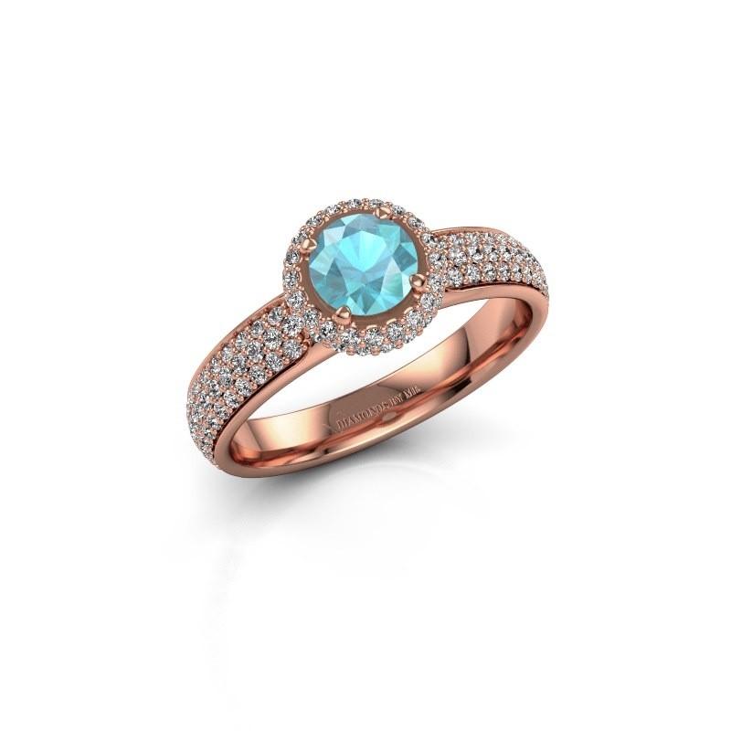 Engagement ring Mildred 375 rose gold blue topaz 5 mm