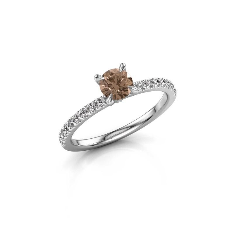 Verlobungsring Crystal rnd 2 585 Weißgold Braun Diamant 0.680 crt