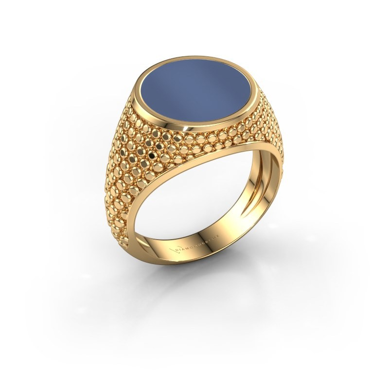 Zegelring Zachary 2 585 goud blauw lagensteen 12 mm
