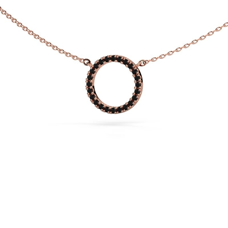 Hanger Circle 375 rosé goud zwarte diamant 0.216 crt