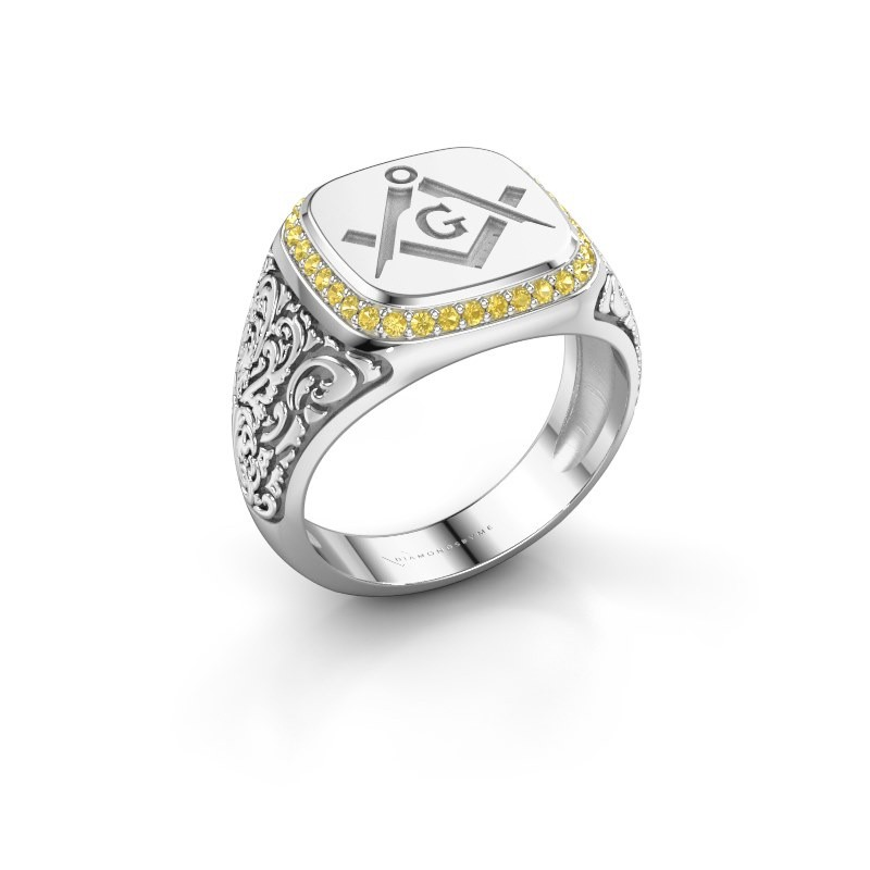 Men's ring Hugo 375 white gold yellow sapphire 1.2 mm