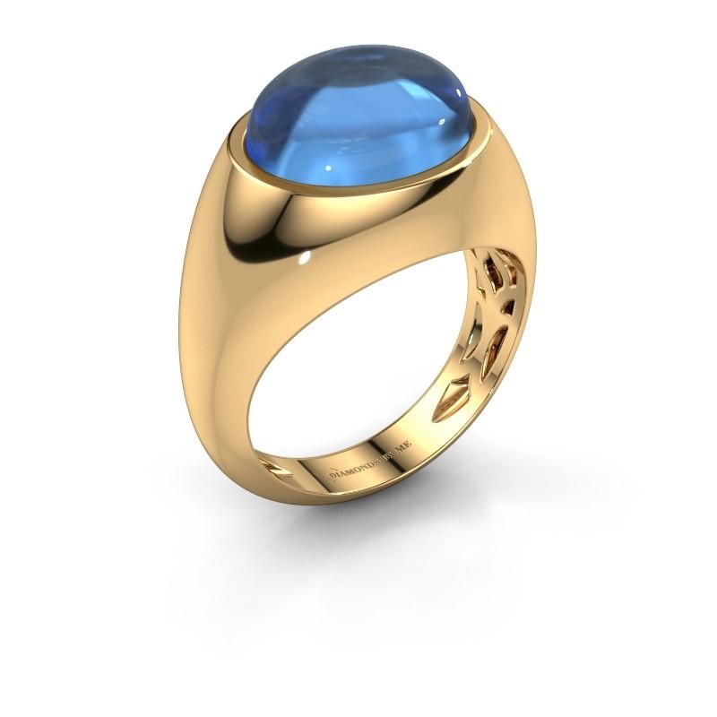Bague Laurien 585 or jaune topaze bleue 12x10 mm