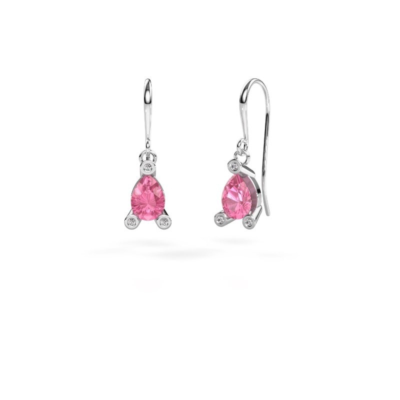 Drop earrings Bunny 1 375 white gold pink sapphire 7x5 mm