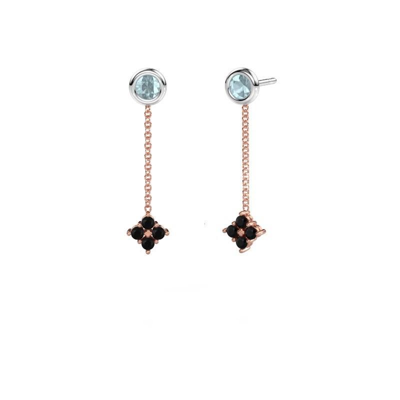 Drop earrings Ardith 585 rose gold black diamond 0.288 crt