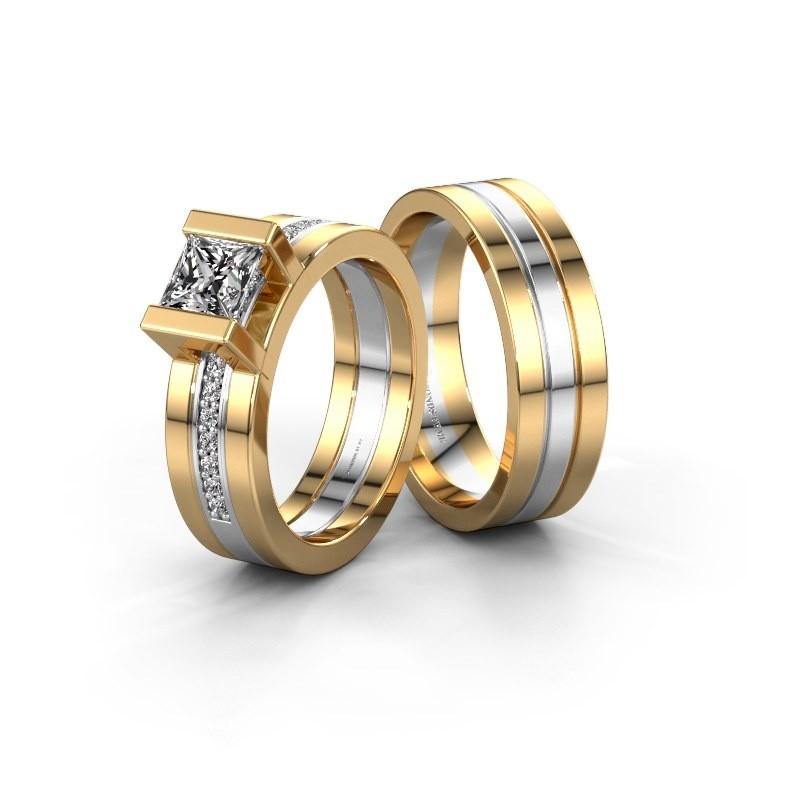Trouwringen set WHR0357LM16AP ±6x2 mm 14 karaat goud diamant 0.40 crt