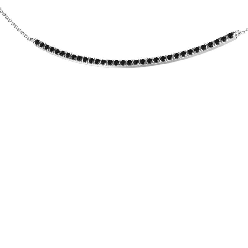 Bar ketting Simona 925 zilver zwarte diamant 0.576 crt