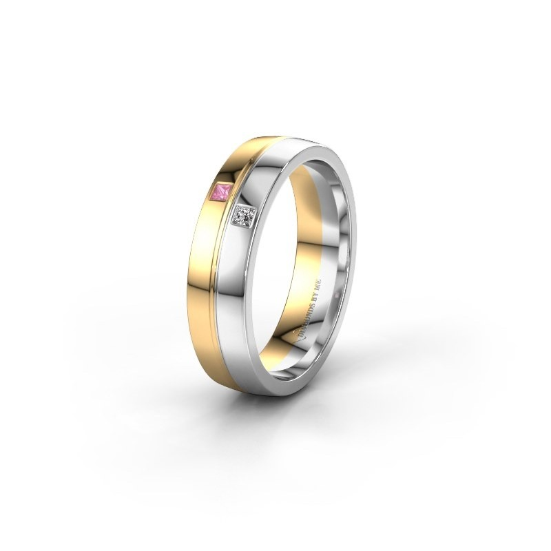 Trouwring WH0231L25BP 585 goud roze saffier ±5x2 mm