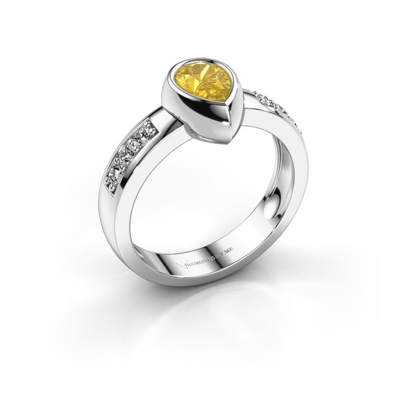Ring Charlotte Pear 585 white gold yellow sapphire 8x5 mm