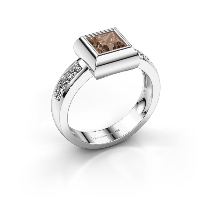 Ring Charlotte Square 925 silver brown diamond 0.78 crt