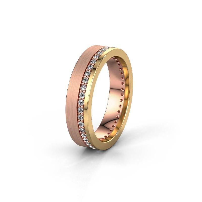 Trouwring WH0303L15BPM 585 rosé goud zirkonia 1.3 mm ±5x2 mm