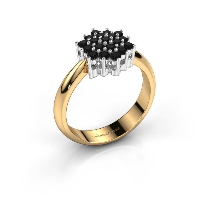 Ring Bente 585 goud zwarte diamant 0.638 crt