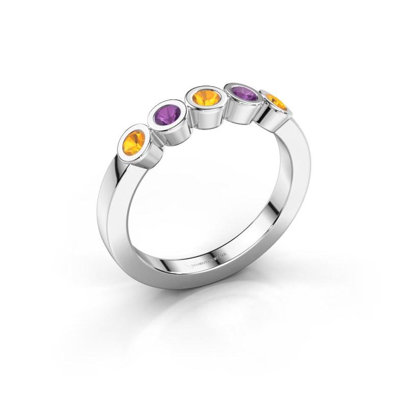 Ring Nova 585 white gold citrin 3 mm