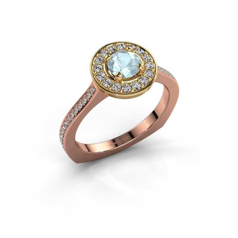 Ring Kanisha 2 585 rosé goud aquamarijn 5 mm
