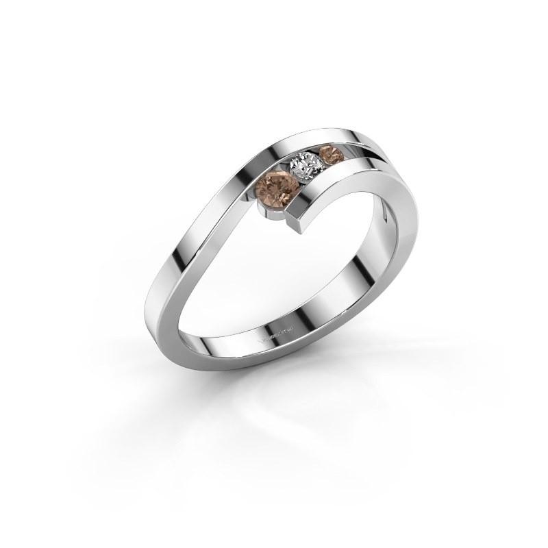 Ring Evalyn 2 925 zilver bruine diamant 0.16 crt