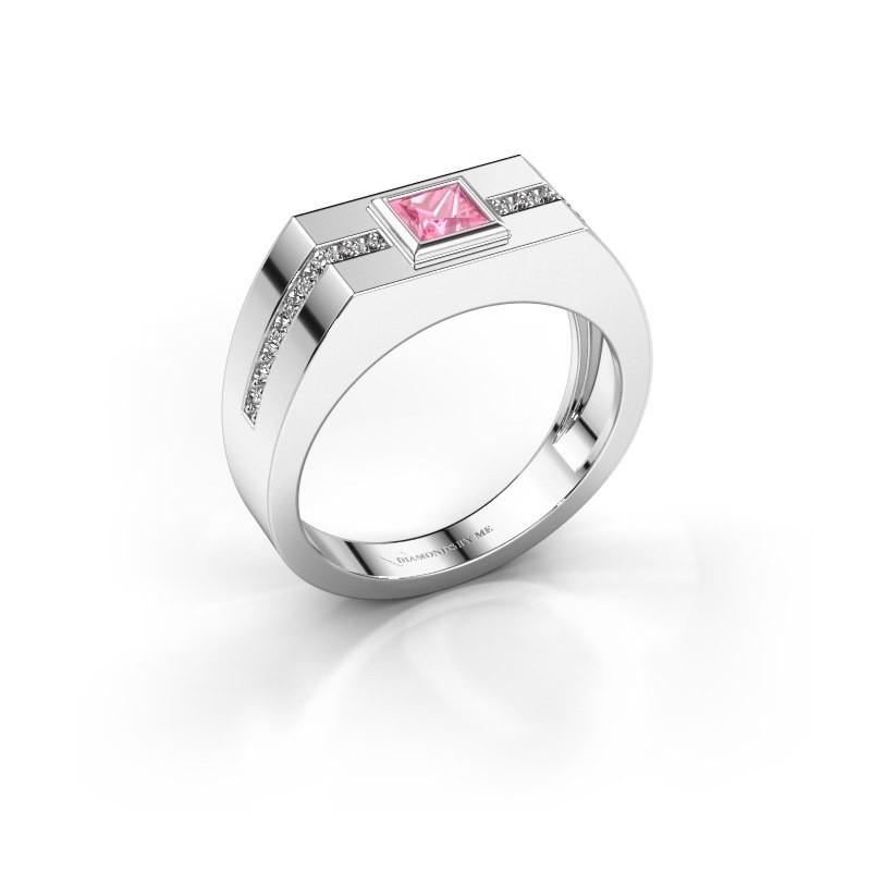 Herrenring Robertus 2 950 Platin Pink Saphir 4 mm