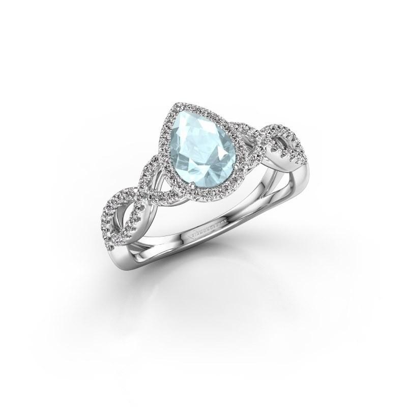 Engagement ring Dionne pear 585 white gold aquamarine 7x5 mm