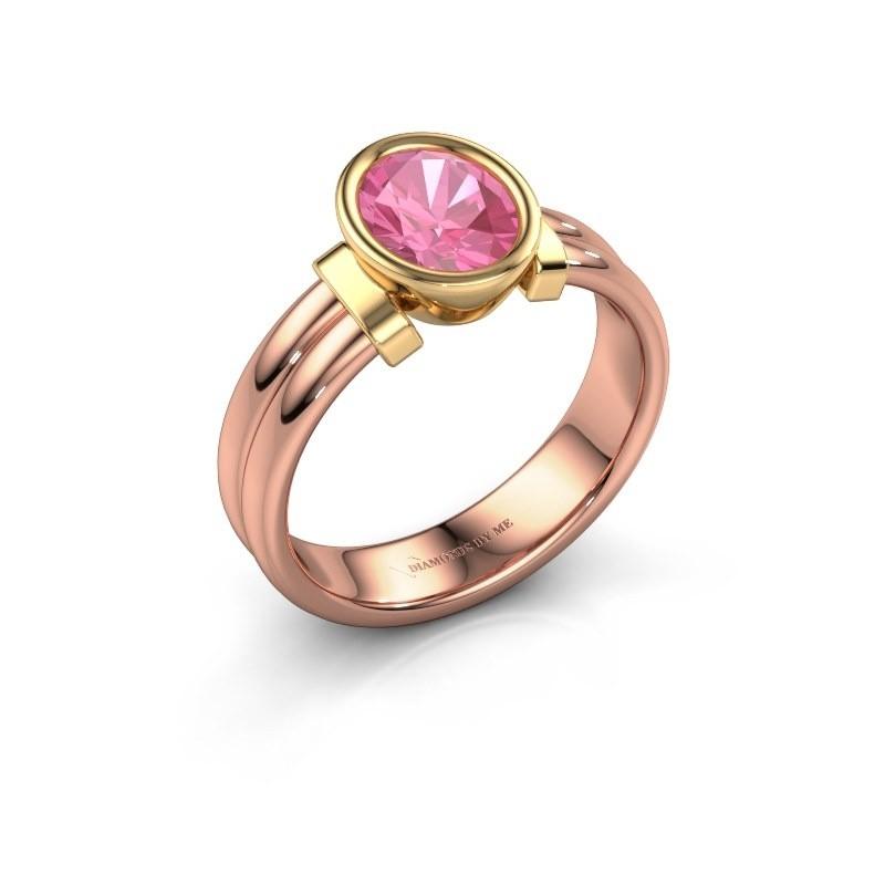 Ring Gerda 585 rose gold pink sapphire 8x6 mm
