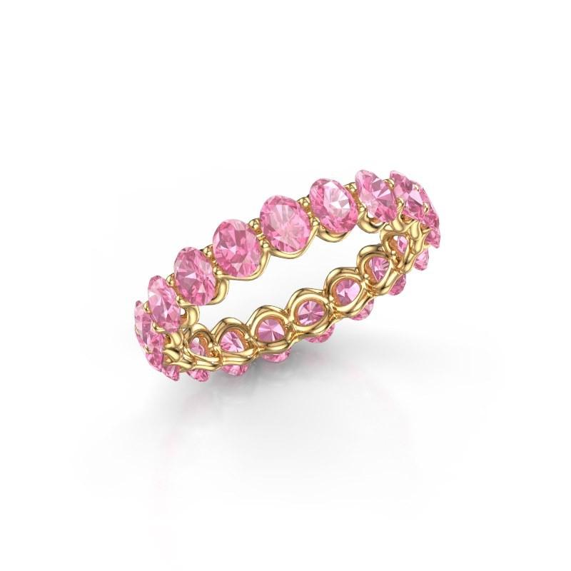 Ring Kirsten OVL 4x3 375 goud roze saffier 4x3 mm