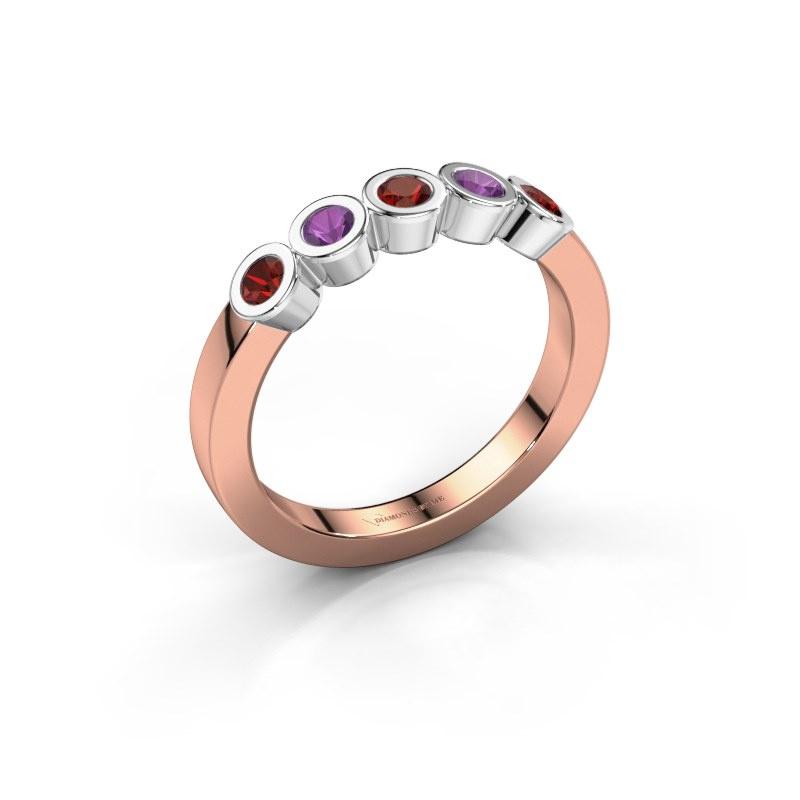 Ring Nova 585 rose gold garnet 3 mm
