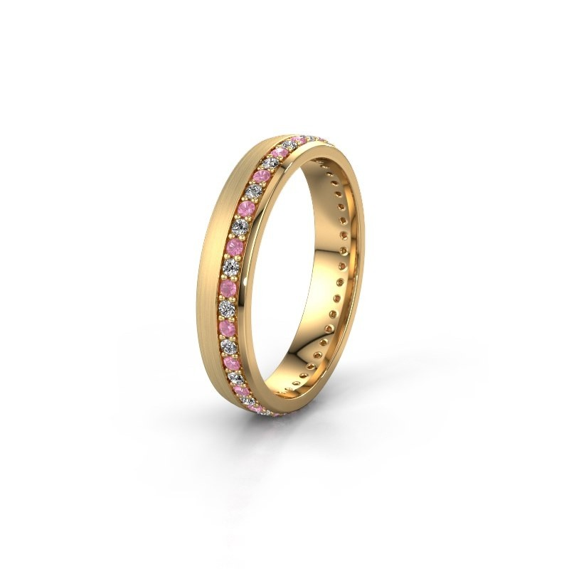 Trouwring WH0303L24AM 585 goud roze saffier ±4x1.7 mm