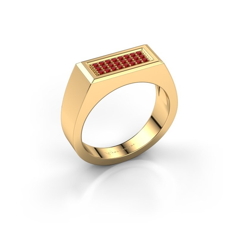 Men's ring Dree 6 375 gold ruby 1.1 mm