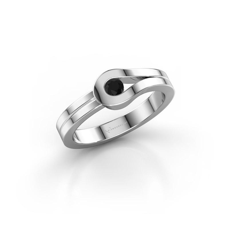 Ring Kiki 925 Silber Schwarz Diamant 0.12 crt