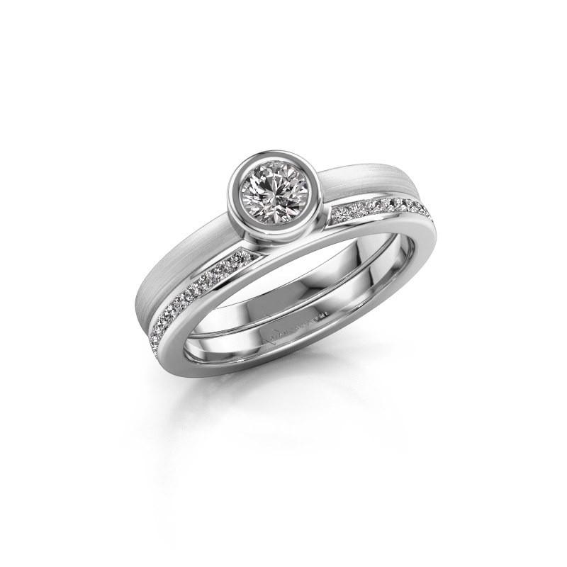 Ring Cara 585 witgoud zirkonia 4 mm
