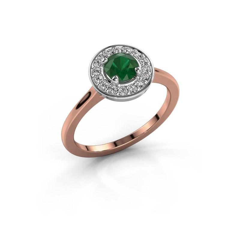 Ring Agaat 1 585 rosé goud smaragd 5 mm