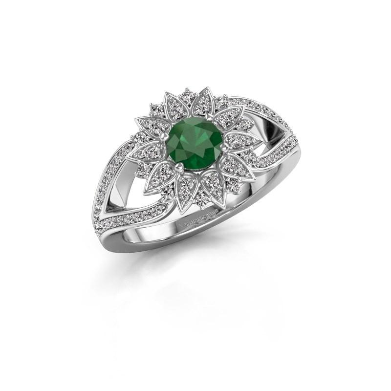 Aanzoeksring Chasidy 2 585 witgoud smaragd 5 mm